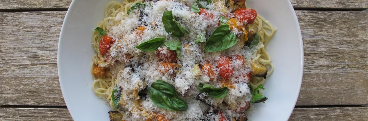 Roasted Eggplant and Tomato Pasta