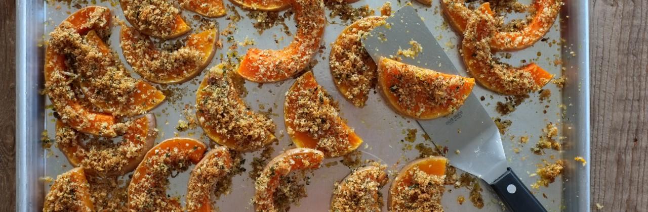 Lemon-Parmesan-Breadcrumb Baked Butternut Squash
