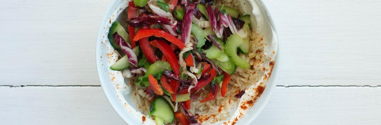 One Minute Stir-Fry with Harissa & Yogurt