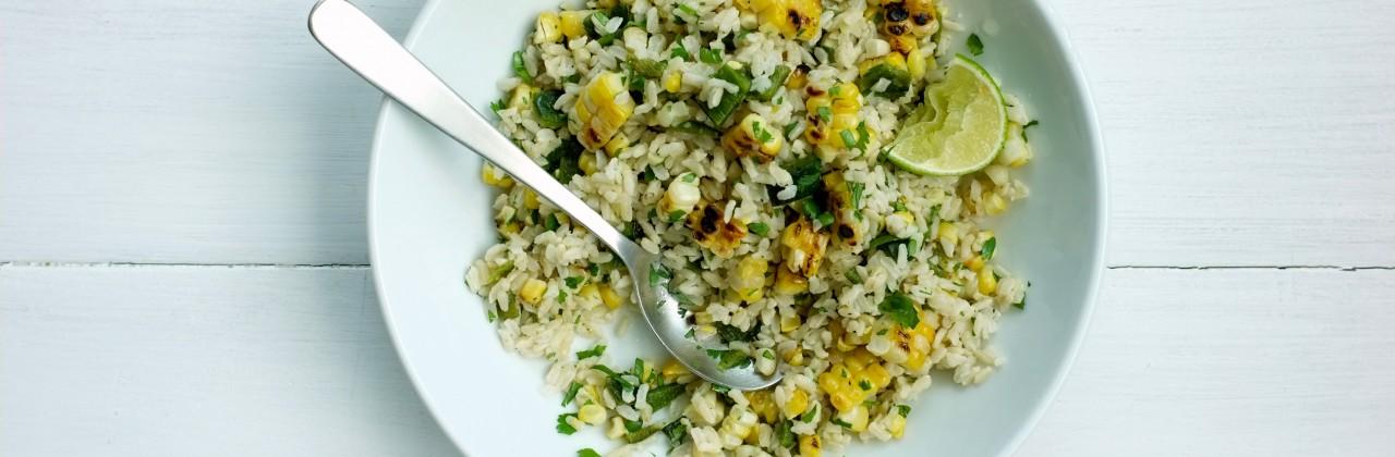 Charred Corn and Poblano Rice