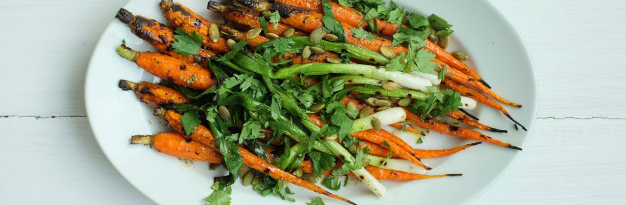 Grilled Carrots and Scallions with Cilantro, Cumin Vinaigrette