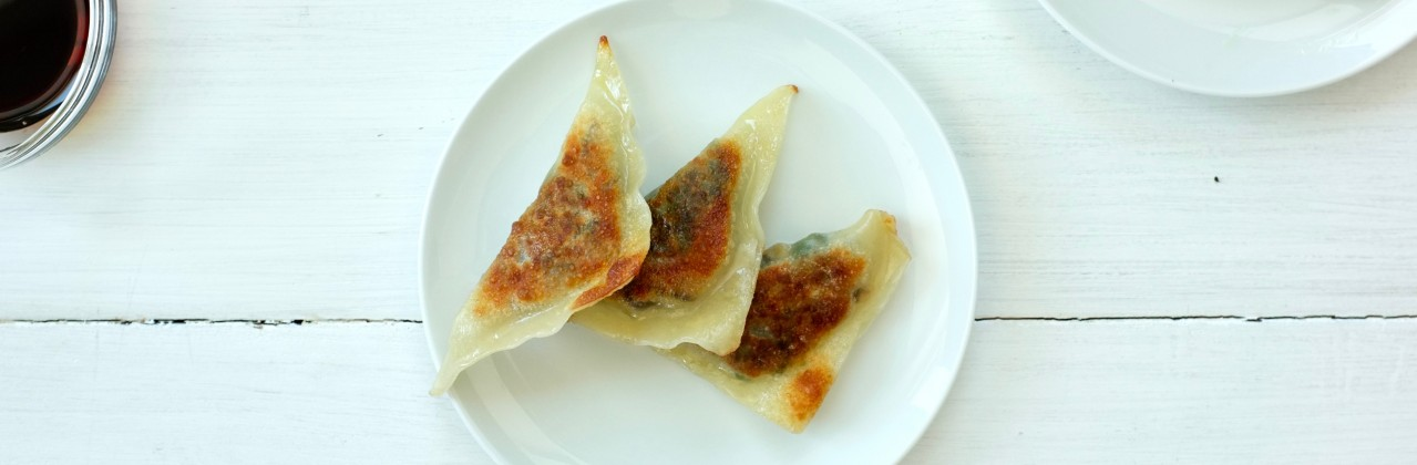 Spinach & Mushroom Potstickers with Ginger & Chives