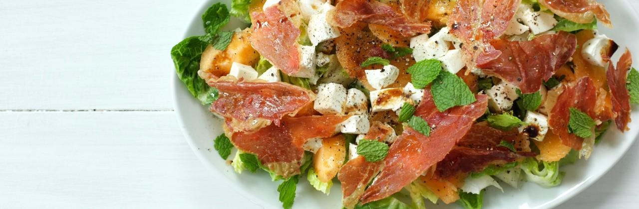 Salad with Fresh Mozzarella, Cantaloupe & Crispy Prosciutto