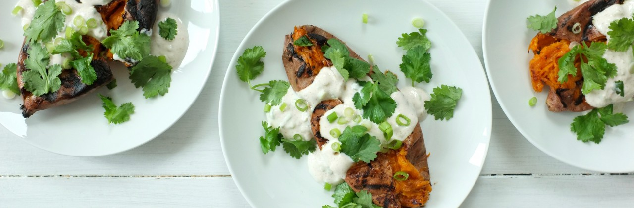 Grilled Sweet Potatoes, Scallion-Yogurt and Cilantro