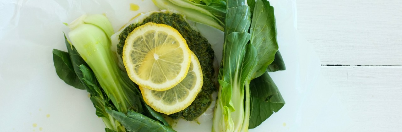 Ginger Pesto Halibut Parchment Packets