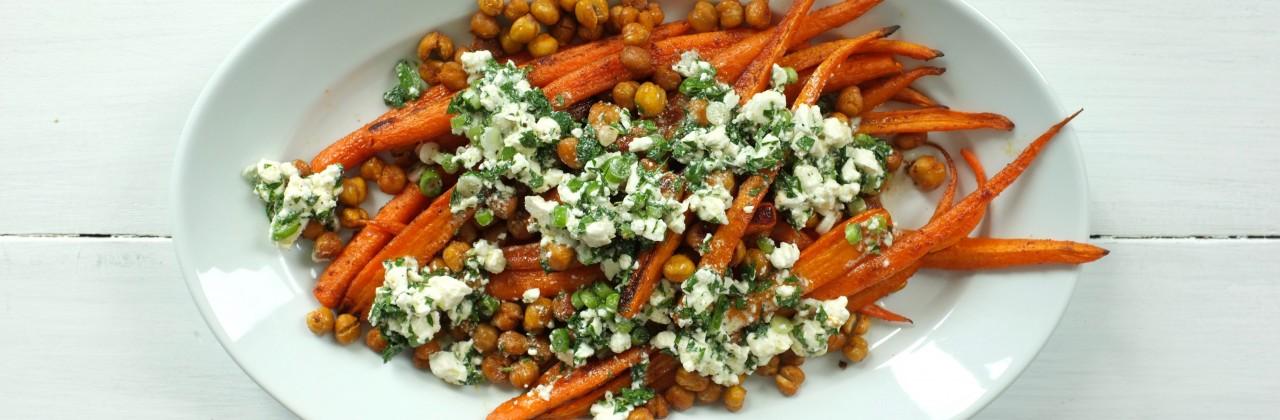 Roasted Carrots and Chickpeas with Feta Vinaigrette