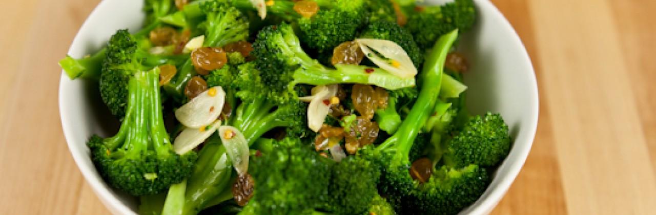 Broccoli with Golden Raisins and Garlic