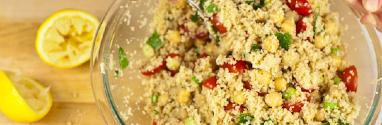 Couscous Salad with Chickpeas, Tomatoes and Mint
