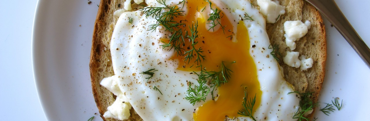 Feta Baked Pitas with Sunnyside Eggs and Dill