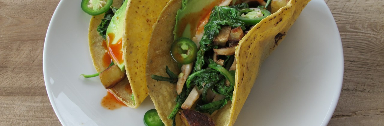 Kale and Potato Tacos with Jalapeño and Avocado