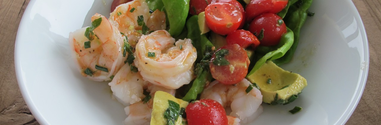 Shrimp Salad with Tomato, Avocado Salsa