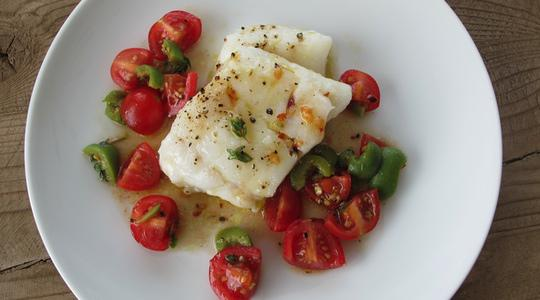 Olive Oil (Slow) Poached Cod with Tomato, Olive Salsa ...