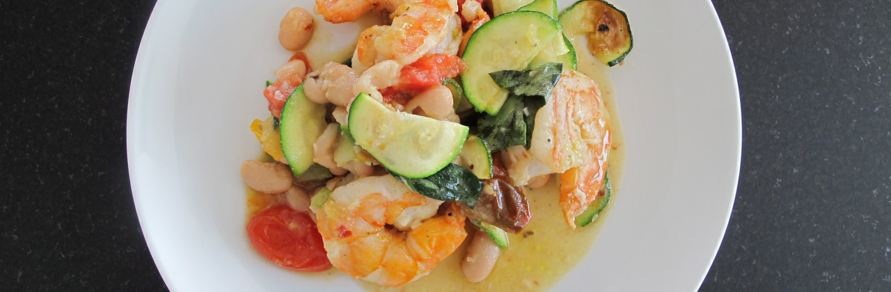 Garlic Roasted Shrimp with Zucchini and Tomatoes