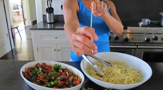 Roasted eggplant and tomato pasta-10