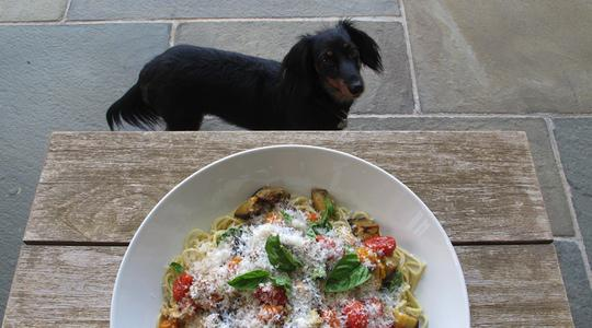 Roasted eggplant and tomato pasta-12