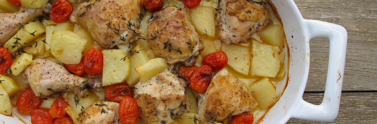 Roasted Garlic Chicken with Tomatoes and Thyme