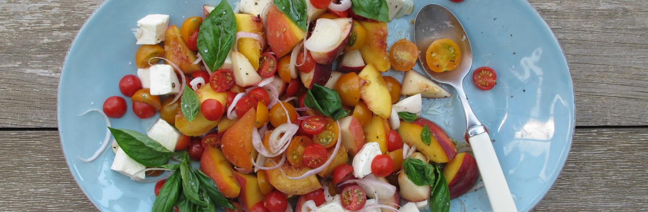 Peach and Tomato Salad with Fresh Mozzarella