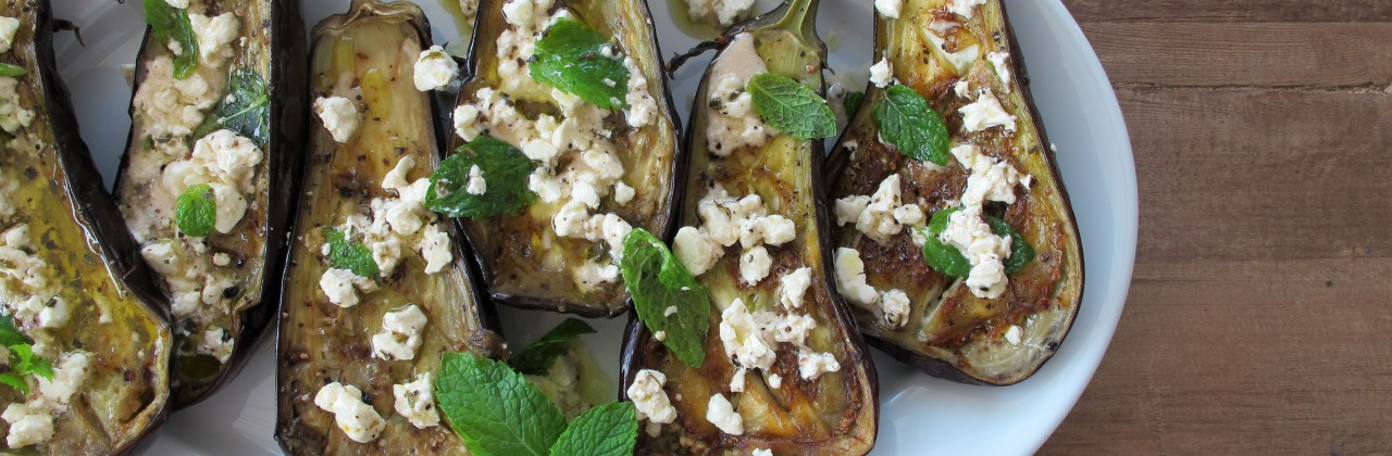 Roasted Eggplant with Feta-Mint Vinaigrette