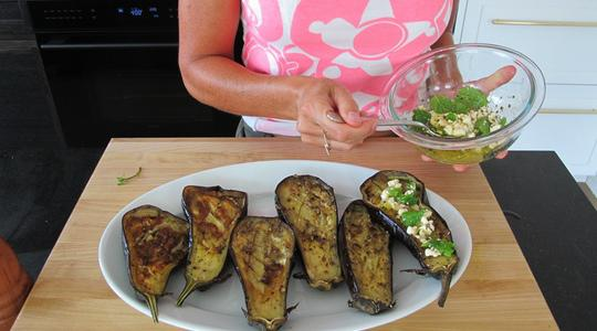 Roasted eggplant with feta-mint vin-12
