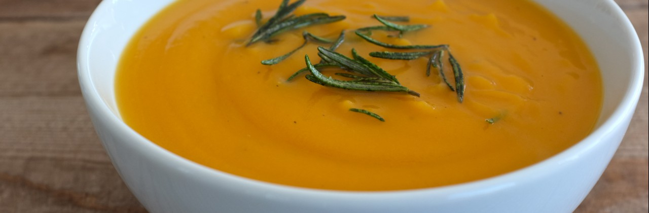 Roasted Butternut Squash Soup with Fried Rosemary