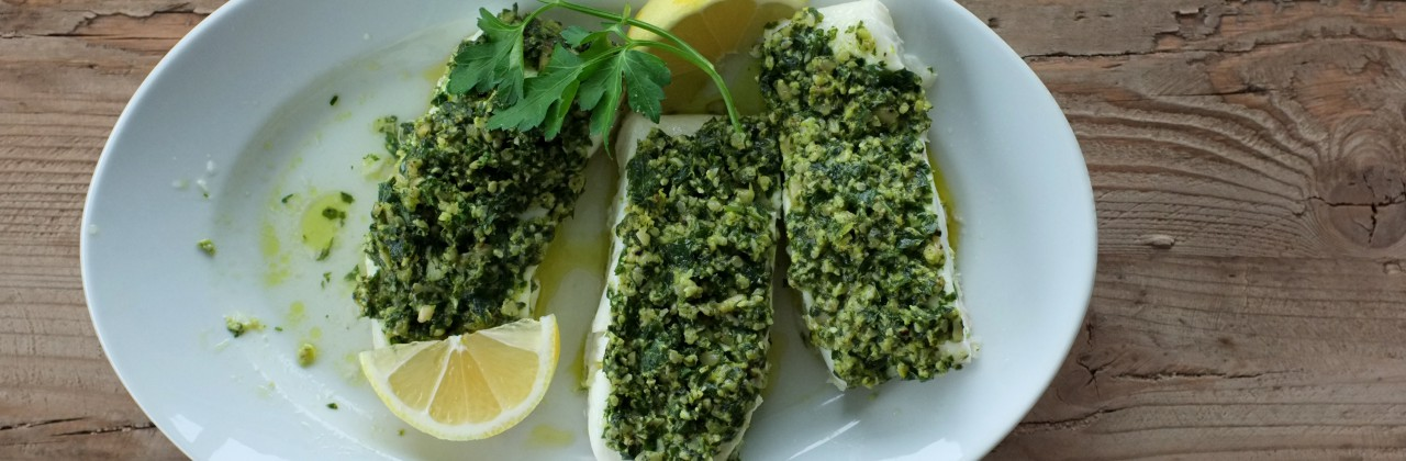 Parsley Pesto Steamed Halibut