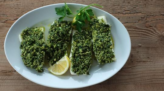 Pesto parsley steamed halibut-10