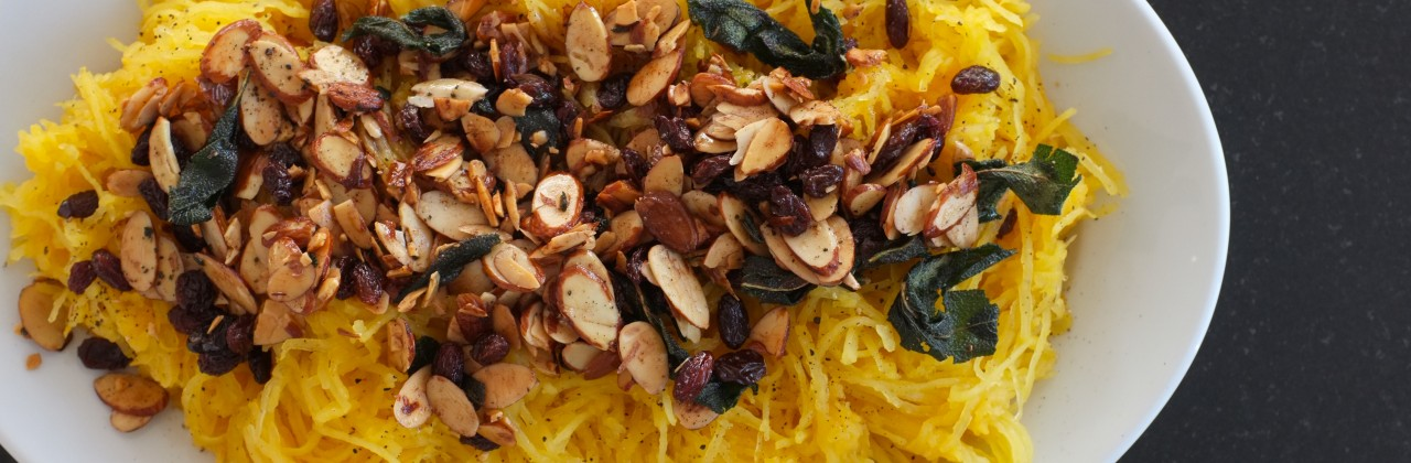 Roasted Spaghetti Squash with Almonds, Cinnamon & Sage
