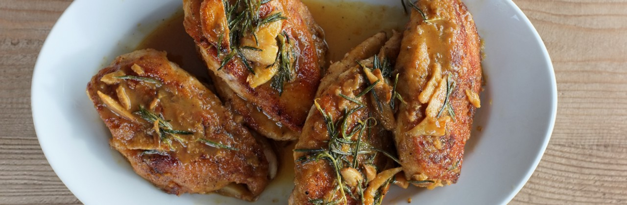 Orange Chicken with Rosemary and Toasted Garlic