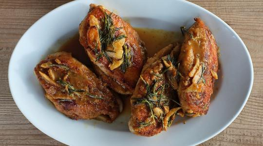 Orange chicken with rosemary and browned garlic-13