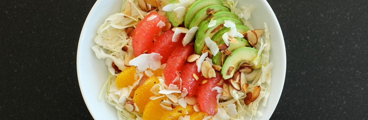 Cabbage Bowl with Citrus, Avocado, Almonds & Coconut