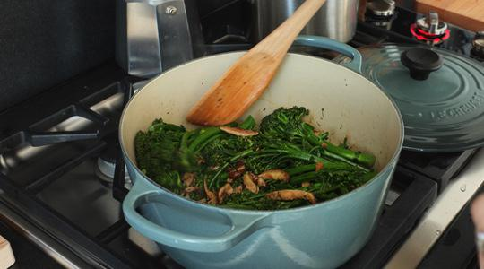Orange broccolini and mushrooms-14