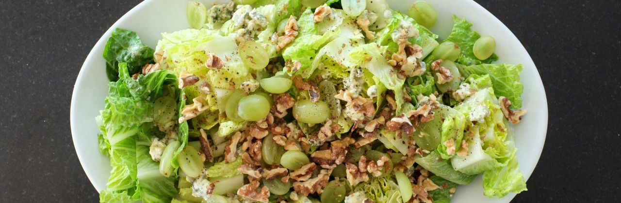 Romaine Hearts with Blue Cheese Vinaigrette, Grapes & Walnuts