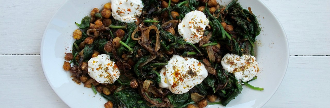 Spinach with Caramelized Chickpeas & Onions, Yogurt & Za'atar