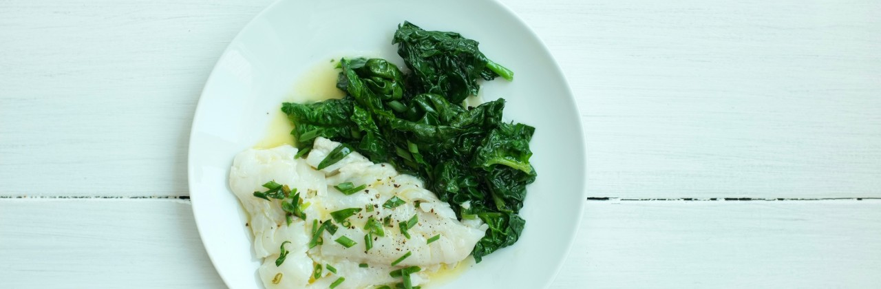 Poached Cod with Spinach and Tarragon Butter Sauce