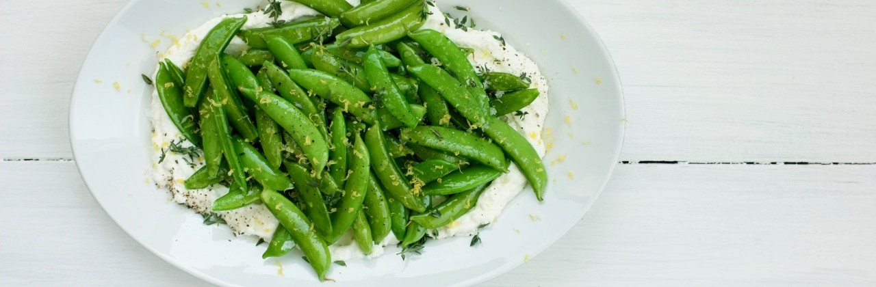 Sugar Snap Peas with Lemon and Ricotta