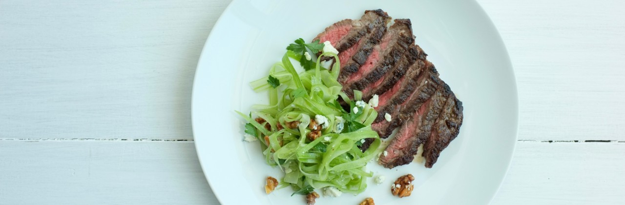 Skirt Steak with Celery, Blue Cheese and Walnut Salad