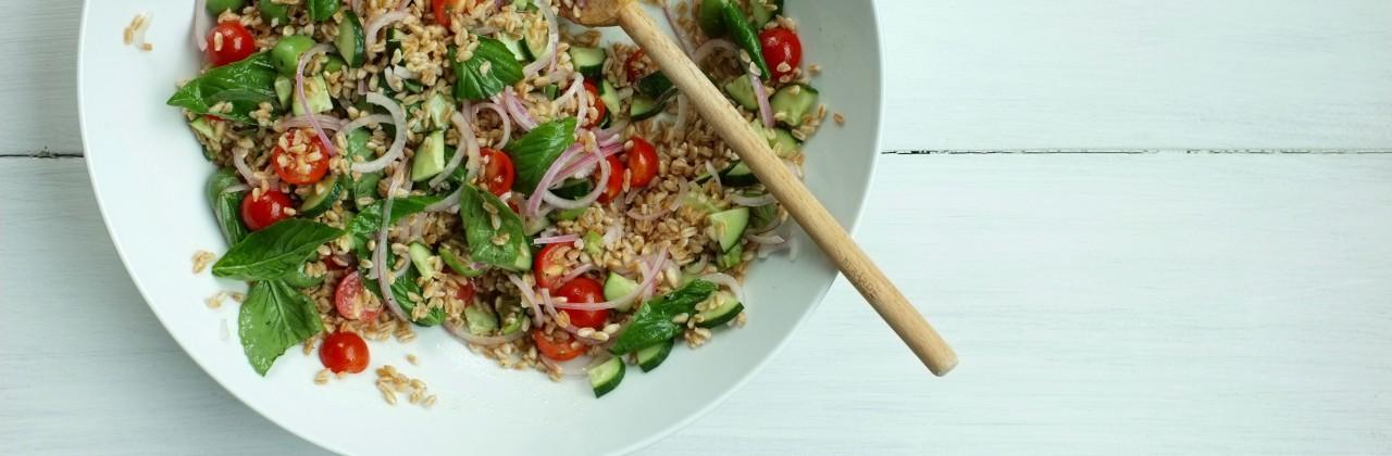 Barley Salad with Tomatoes, Green Olives and Basil