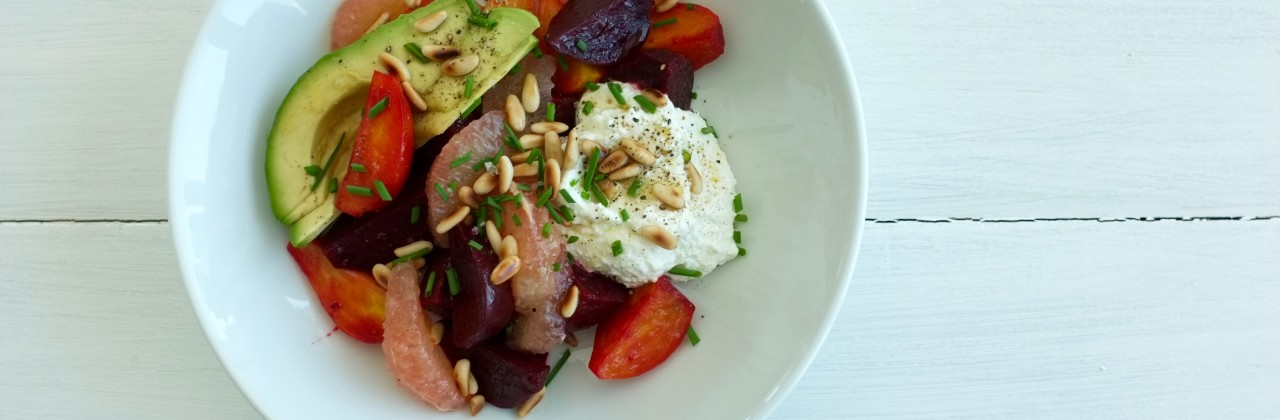 Beet & Avocado Salad with Ricotta & Pine Nuts