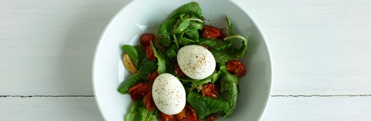 Soft Eggs with Roasted Tomatoes and Arugula