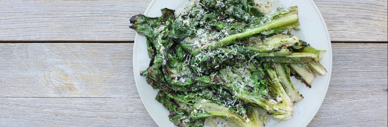 Grilled Escarole with Lemon-Parmesan Dressing