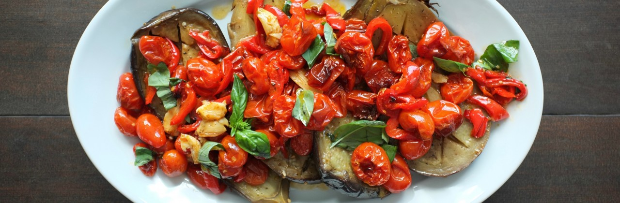 Roasted Eggplant, Tomatoes and Peppers