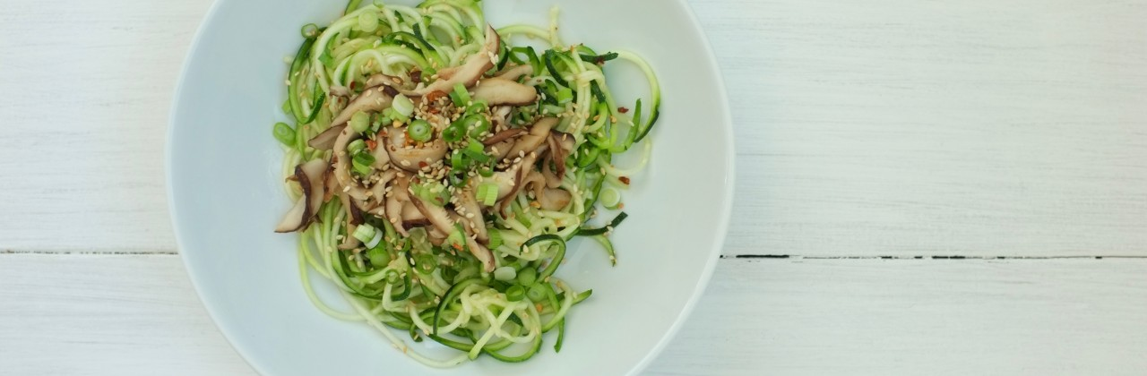 Spicy Zucchini Noodles with Shitakes and Sesame