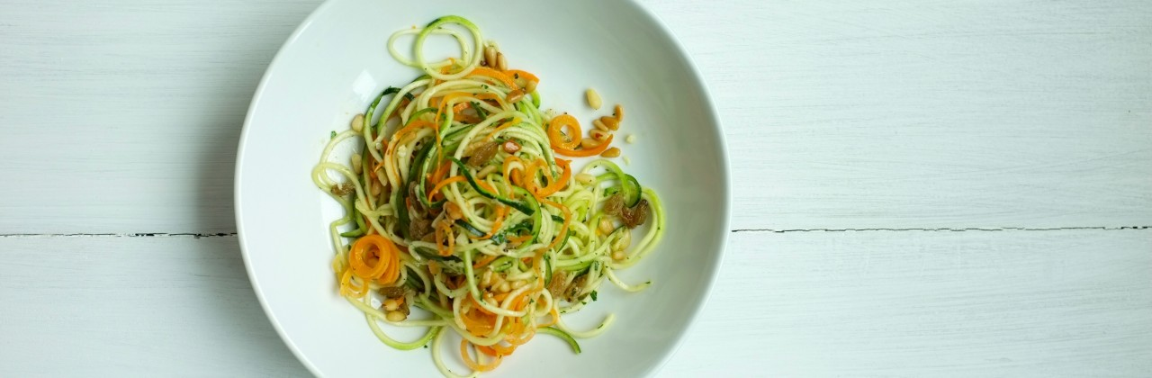 Lemony Zucchini & Carrot Noodles with Pine Nuts & Raisins