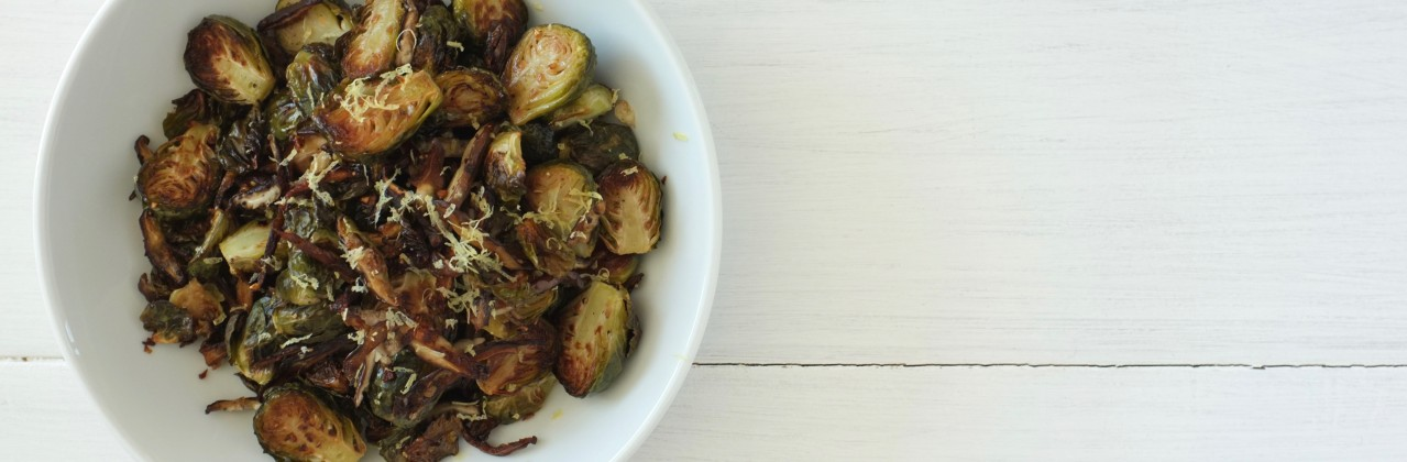 Roasted Brussels Sprouts and Shitakes