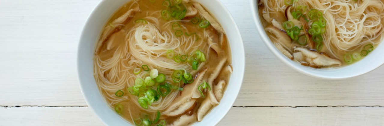 Ginger-Lemon Broth with Rice Noodles