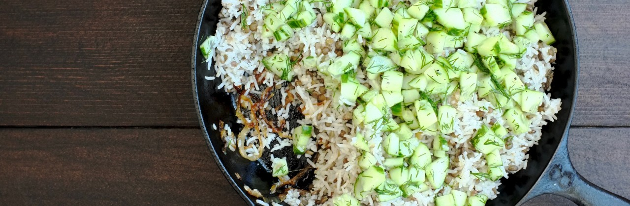 Lentils and Rice with Caramelized Onions and Cucumber Vinaigrette