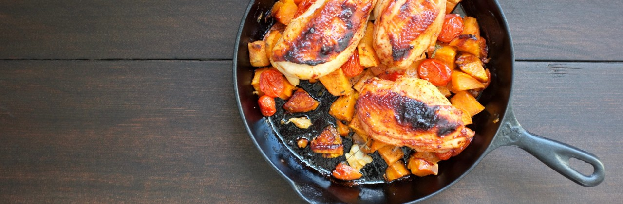 Harissa and Honey Roasted Chicken with Sweet Potatoes and Thyme