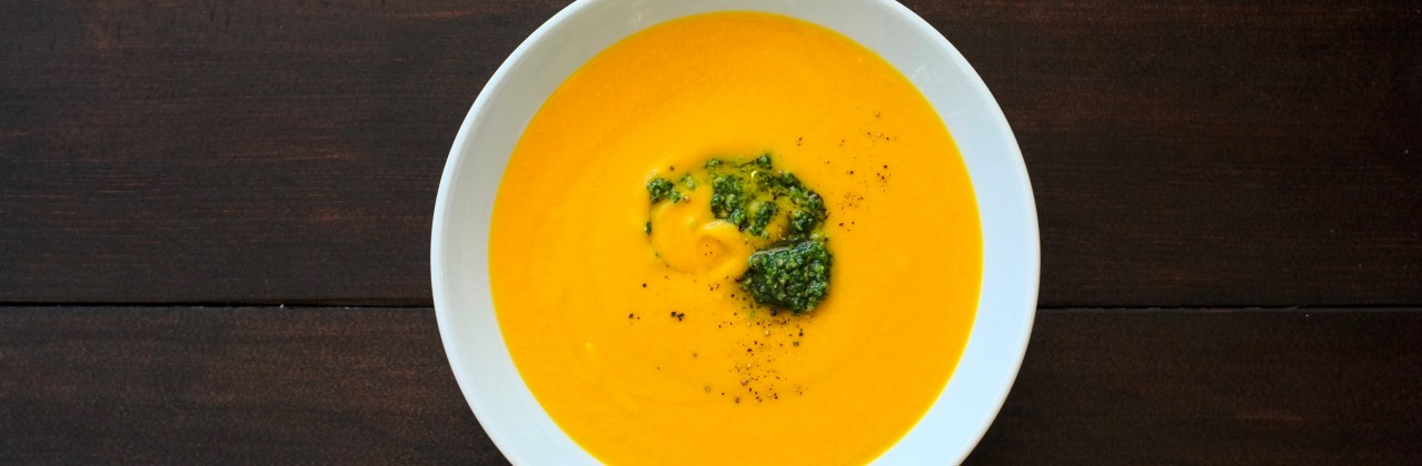 Carrot, Parsnip & Ginger Soup with Cilantro-Cashew Pesto