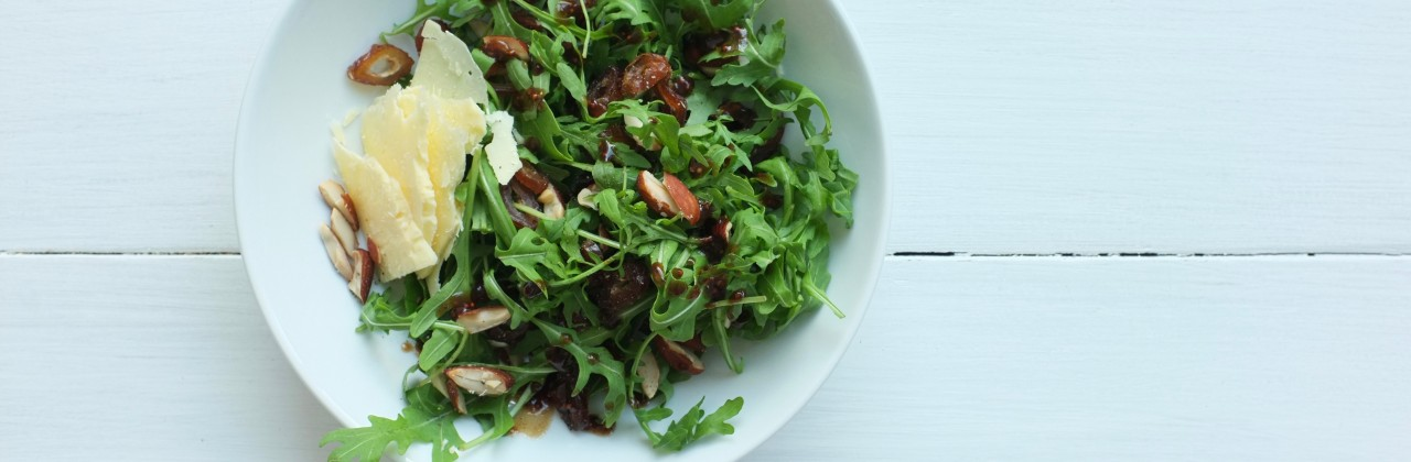 Arugula and Date Salad with Almonds and Cheddar