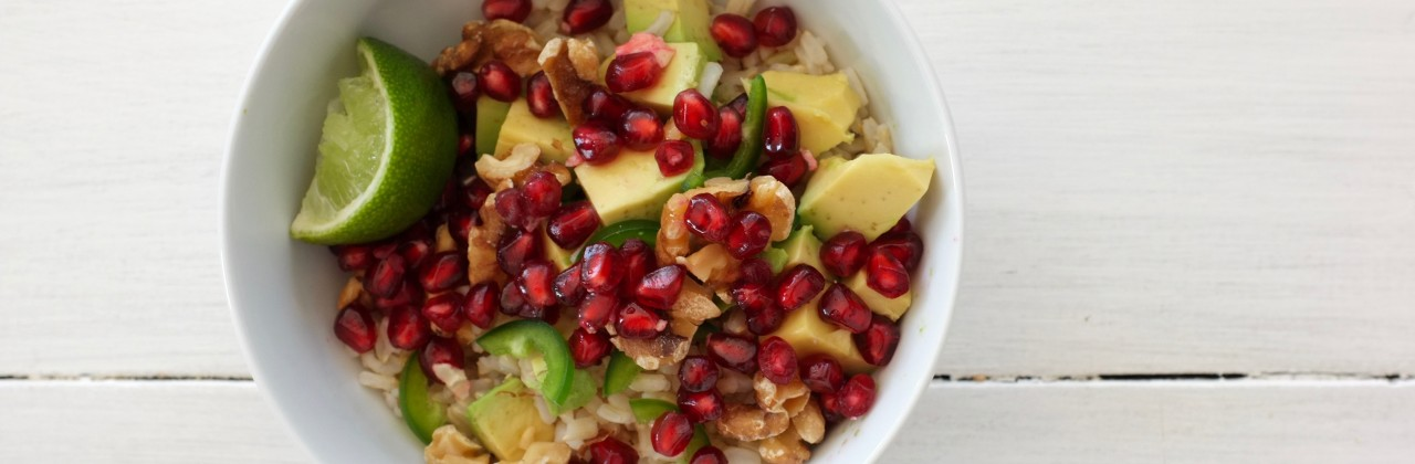 Brown Rice Bowls with Pomegranate, Jalapeño & Avocado